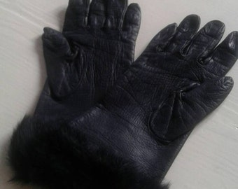 Gloves, leather black, fur-stocking, vintage