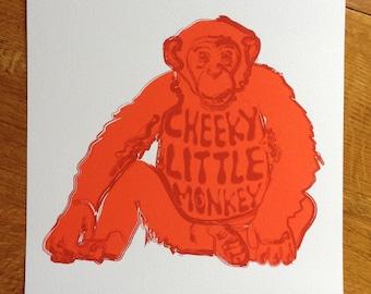Red cheeky little monkey A4 fun monkey print