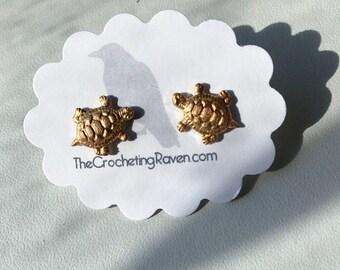 Turtle Earrings Turtle Stud Earrings Brass Turtle Earrings Turtle Jewelry