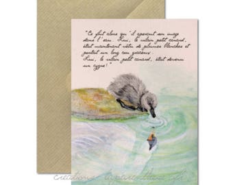 The ugly duckling - watercolor Illustration card