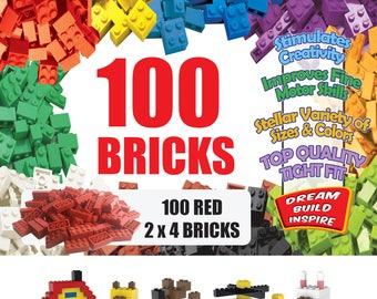 100 Red LEGO Compatible Bricks