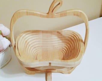 Apple Basket Vintage Apple Basket Collapsible Basket Vintage Basket Vintage Fruit Basket Apple Decor Farmhouse Decor Vintage Set Decor