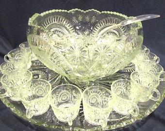 Large EAPG Slewed Horseshoe Radiant Daisy 15 Piece Punch Bowl Set