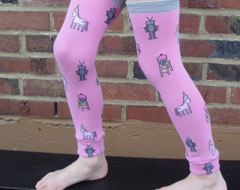 SALE - Leg or Arm Warmers - Robots, Unicorns AND Cupcakes - Leggings for Baby, Toddler, Big Kid and Tween - Fun Birthday or Baby Shower Gift