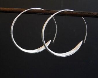 Silver Hoops, Silver Hoop Earrings, Wrap Over Hoop Earrings, Modern Earrings, Minimal Earrings, Sterling Silver Earrings