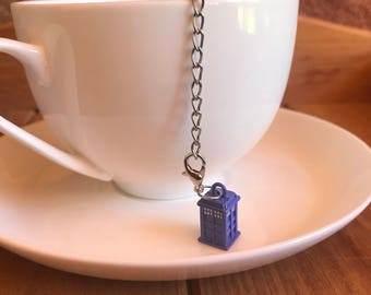 Blue police box tea infuser stainless steel mesh ball with removable Dr Who themed charm tea gift