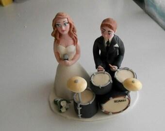 Drummer Wedding Couple fondant cake topper