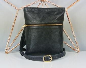 Black Leather 'Marldon Zipper' Messenger Bag - Cross-body Bag - Shoulder Bag - Personalized Bag - Made in the UK - Italian Leather