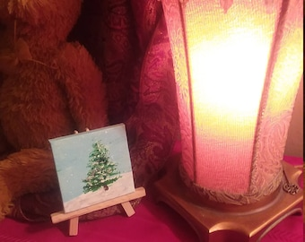 "Miniature Christmas Tree Painting with Easel 3""x3"""