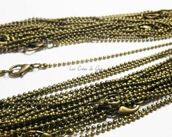 2 x 1 ball chain Choker mm bronze