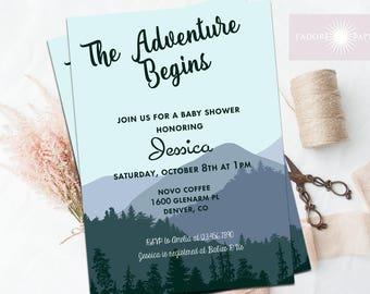 Adventure Begins Baby Shower Invitation, Rustic Baby Shower Invitation, Mountain Baby Shower, Adventure Awaits, Printable, jadorepaperie