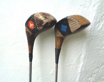 2 Vintage Wooden Golf Clubs No 1 Wood PGF and No 1 Swilken from St Andrews Scotland golfer golfing collectibles (X)