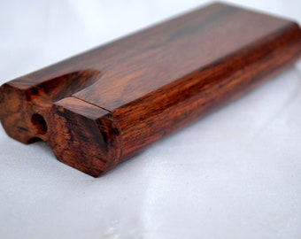 Beautiful Dalbergia Rosewood Dugout with Spiked Metal Bat Swivel Top One Hitter