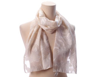 White Bridal Scarf 90s Ivory Sheer Transparent Floral Cream White Abstract See Through Unique Wedding Long Shawl Neck Scarf Women Gift