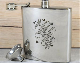 Modern, Engraved Bridesmaid Wedding Hip Flask - Bridesmaid Gifts, Maid of Honour Gifts, Womens Hip Flasks, Cute Hip Flasks, Heart Hip Flasks