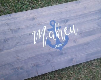 Alternative Guestbook Wood // Nautical Guest Book // Name and Date // Wedding Wood Decor