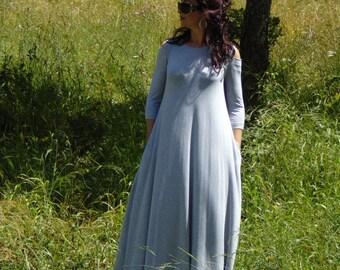 Off shoulder dress/Summer DRESS/Dress with pockets/Light gray dress/Maxi dress/Plus size dress/Daywaer dress/Women's kaftan dress/Long dress
