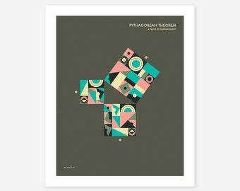 PYTHAGOREAN THEOREM (Giclée Fine Art Print/Photo Print/Poster Print) Minimal, Geometric Art