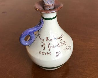 """Old English MottoWare Hand Painted Floral Pottery Motto Small Corked Jug Unique Gift Idea """"May The Hinges of Friendship Never Go Rusty"""""""