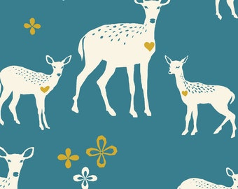 Monaluna, Deerheart, Teal, Blue, Organic, Cotton, Canvas, Fabric by the Yard, Fabric, Westwood Canvas, Certified Organic, Deer, Heart, Doe