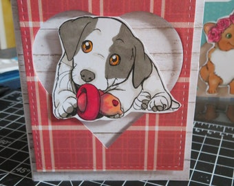 Handmade Card featuring Flynne's Puppies labrador retriever Birthday Blank Inside Any Occasion Card hand Stamped and colored with Copics
