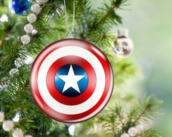 Captain America Christmas Tree Ornament, 2.25 Inch, Unbreakable, Metal
