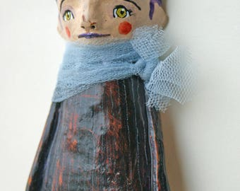 Doll-baby doll hanging clay-sculpture-terracotta figurines-handmade terracotta clay sculpture-girl with tulle-