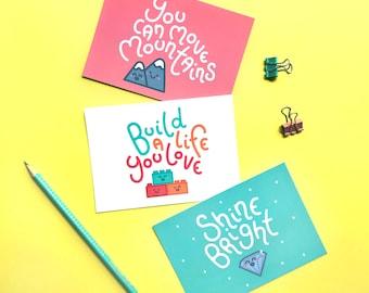 Motivación conjunto de postal - paquete de 3, brillo brillante, A6 impresiones, mejor regalo amigo, decoración de oficina, frases positivas, efectos de escritorio lindos
