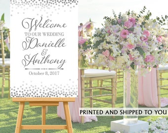 Welcome to Our Wedding Sign - White and Silver Bride & Groom Sign- Reception Sign Printed Wedding Ceremony Sign, Printed Foam Board Sign