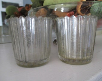 Handmade Antique Finish Pleated Mercury Glass Votives: Set of 2, Flameless Tea Light Candles Included