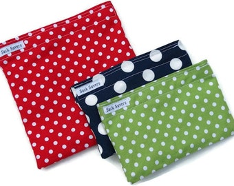 Reusable Sandwich and Snack Bag Set  of Three Red Green Navy Polka Dots