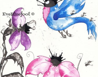 Abstract Bird Illustration, Weresparrow Illustration, Original Piece, Abstract Flowers, Watercolor Painting, Whimsical Creatures Painting