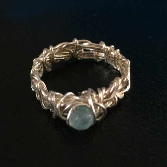 Aquamarine Ring Filigree Ring Rustic Ring Wire Wrapped