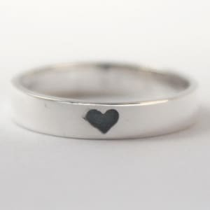 Heart imprint ring, Sterling silver Ring with tiny oxidized Black heart and carved heart inside. Valentines Gift, Engagement, Mothersday