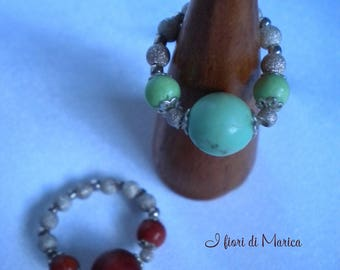 Snap ring with precious stones and silver