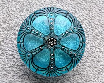 CZECH GLASS BUTTON: 27mm Nouveau Wheel Handpainted Czech Glass Button, Pendant, Cabochon (1)