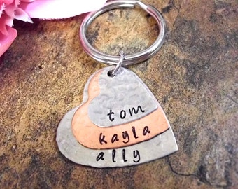 Mommy Keychain, Mother's Day Jewelry, Personalized Keychain, Personalized Mom Jewelry, Father's Day Gift, Gift for Dad, 3 discs