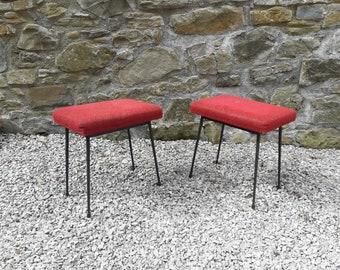 Mid Century Cushion Stools / Vintage Foot Stools / Red Velvet Plush / Italy 60s