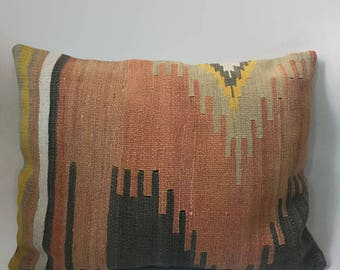 Orange Kilim Pillow, Blue Kilim Pillow, Turkish Pillow, Moroccan Pillow, Decorative Pillow