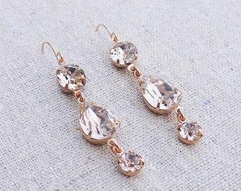 Swarovski Crystal Blush Pink Teardrop Simple Delicate Dangling Morganite Rose Gold Bridal Earrings Wedding Jewelry Bridesmaids Gifts