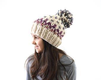 Girls Boys Chunky Fair Isle Knit Pom Pom Hat | The Swiss Alps