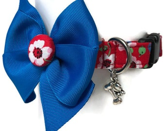Americana Floral Red White Blue Dog Collar size Small