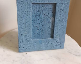 Wood Picture Frame, 5x7 Picture Frame, Blue Crackle Picture Frame, Blue Picture Frame, Crackle Paint Picture Frame, Antiqued Picture Frame