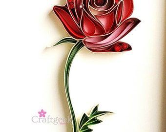 Rose Art - Valentine's Day Gift - Single Red Rose Art - Botanical Art - Framed Wall Decor - First Anniversary Gift - Quilled Paper Art.