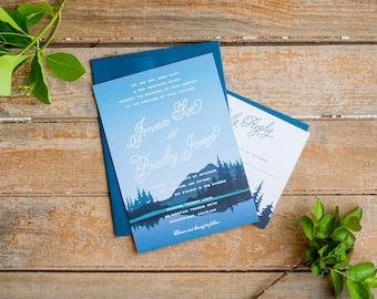 Wedding Invitation, Mountain Wedding Invitation, Rustic Wedding Invitation, mountains, nature wedding invitation, navy wedding invitations