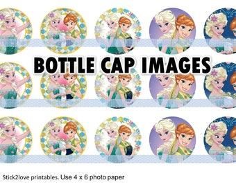 "Frozen Fever printable 4x6 - 1"" circles, bottle cap images, stickers instant download digital art"