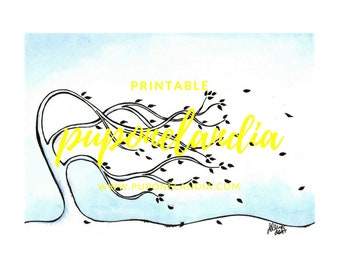 White and blue Tree Ink Ilustration, Printable art, Digital Download, Printable Tree Art, Printable illustration
