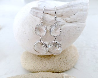 Crystal Earrings Dangle Earrings Silver Earrings Crystal Gemstone Earrings April Birthstone Beach Wedding Bridesmaid Gifts Beach Jewelry