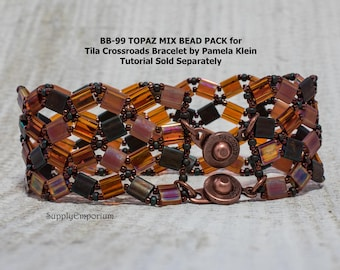 BB-99 Topaz Mix BEAD PACK for Tila Crossroads Bracelet by Pamela Klein - Tutorial Sold Separately