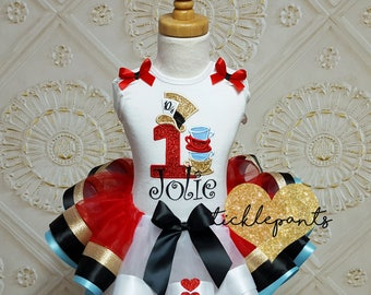 Made for all ages - Alice in Wonderland Birthday Tutu Outfit - Mad Hatter - Tea party - Red Queen - Includes top and ribbon tutu - Red gold